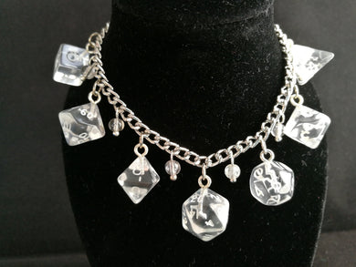 Clear Gem Mini Polyhedral Dice Charm Bracelet