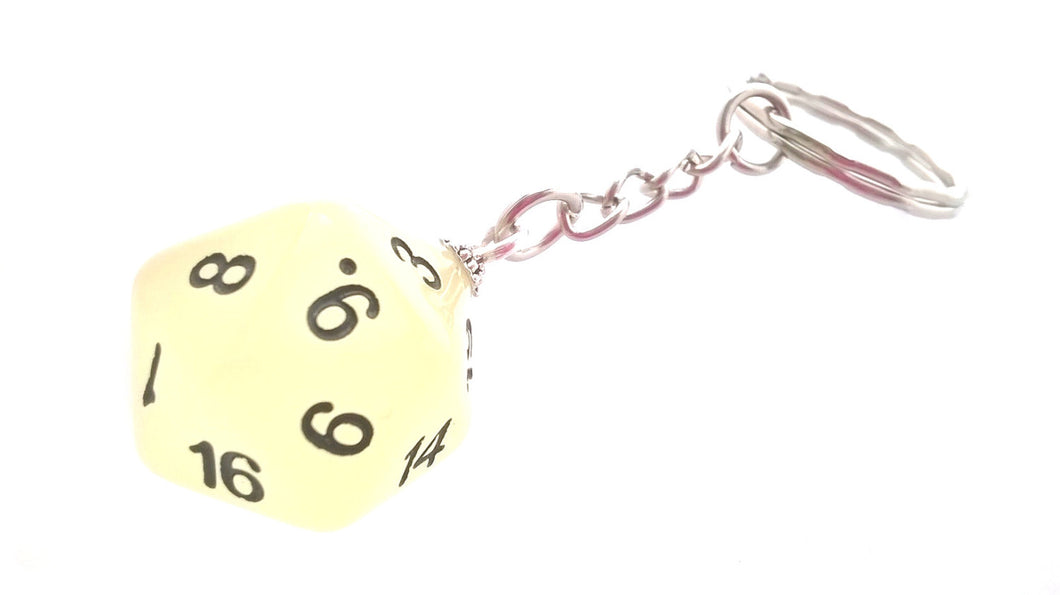 Glow in the Dark Frost White D20 Keyring