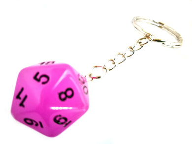 Glow in the Dark Purple D20 Keyring