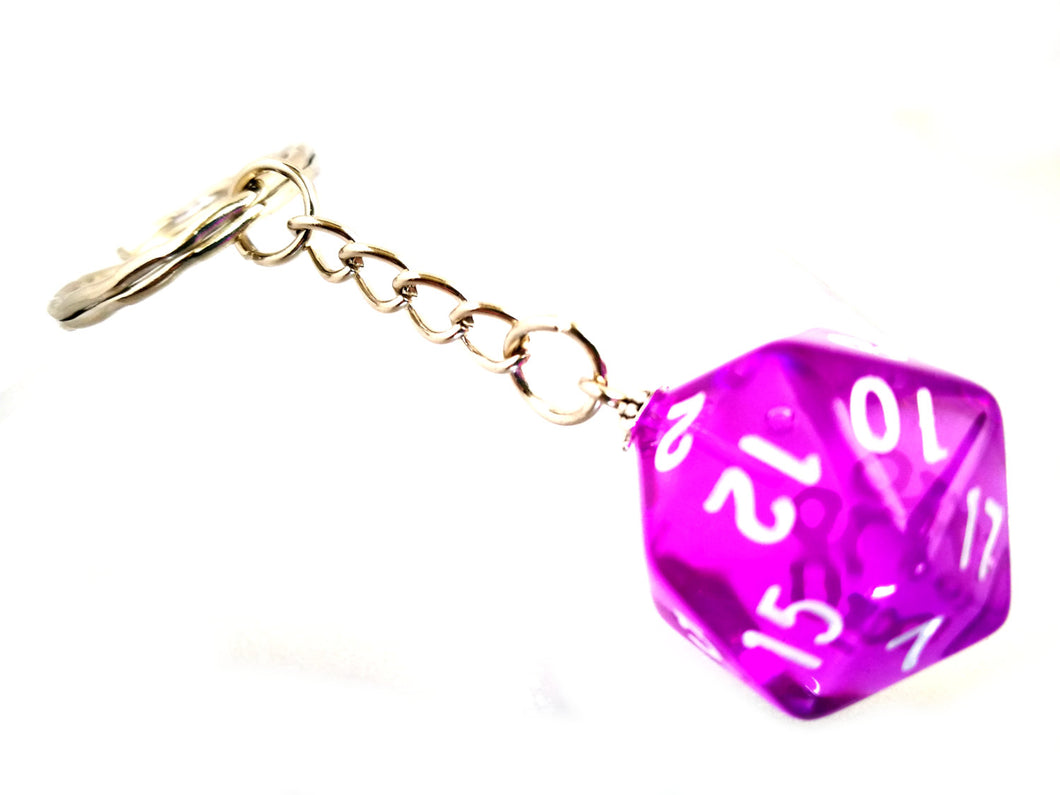 Bright Purple Gem D20 Keyring
