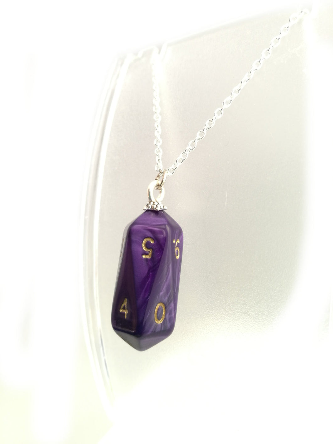 Purple Pearl Crystal Caste D10 Necklace