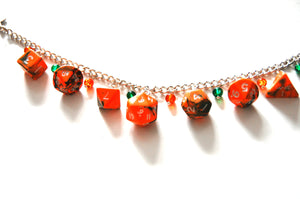 Chemical Orange/Green Mini Polyhedral Dice Charm Bracelet