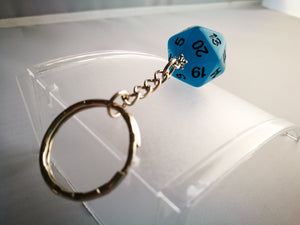 Glow in the Dark Frost Blue D20 Keyring