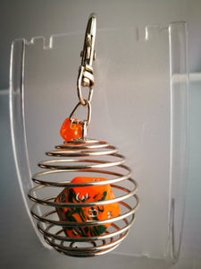 Orange/Green D20 Caged Dice Clip