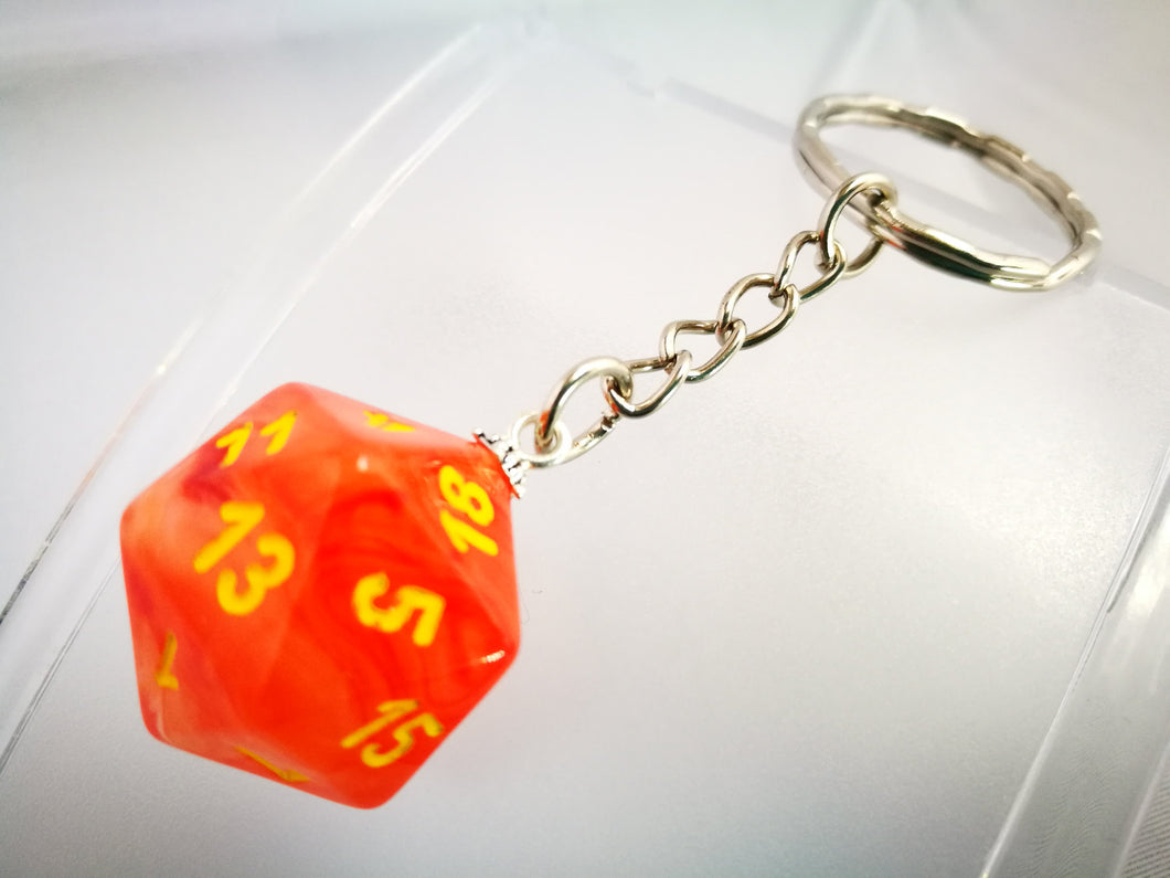 Orange Ghostly Glow, Glow in the Dark D20 Keyring