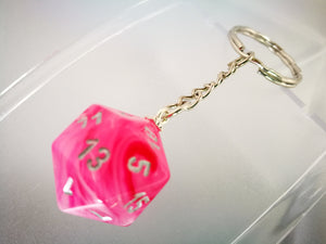 Pink Ghostly Glow, Glow in the Dark D20 Keyring