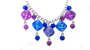 Purple & Blue Dice Necklace