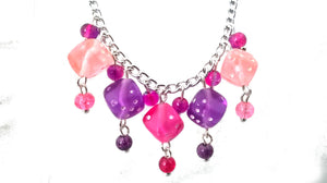 Pink & Purple Dice Necklace