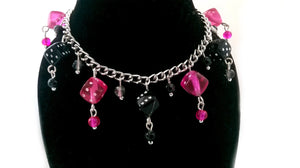 Hot Pink & Black Dice Charm Bracelet