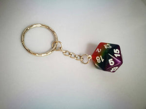 Rainbow Layered D20 Keyring