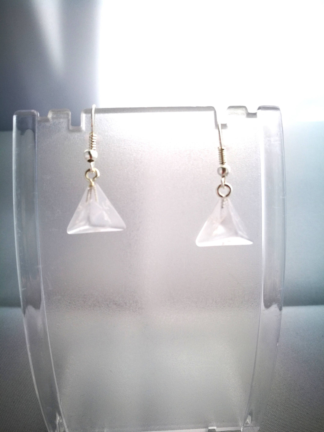 Clear Gem D4 Mini Dice Earrings
