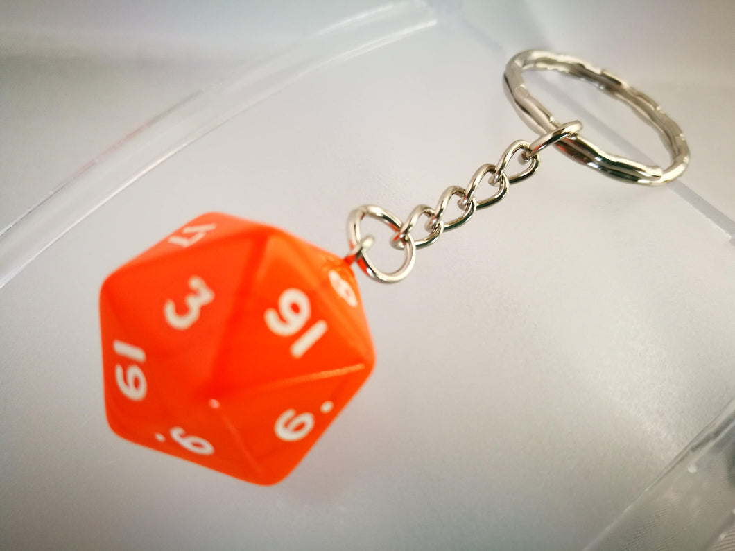 Orange Opaque D20 Keyring