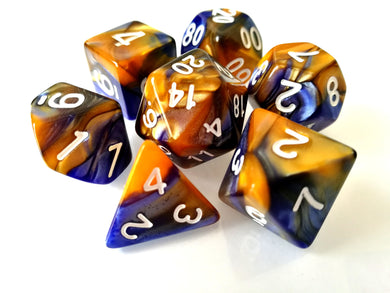 Blue/Orange Dual Colour Dice Set