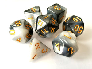 Silver/White Dual Colour Dice Set