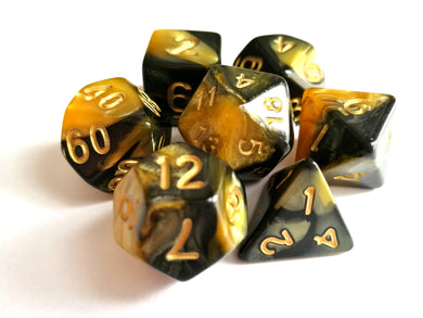 Golden Yellow/Black Dual Colour Dice Set