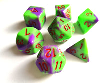Bright Green/Purple Dual Colour Dice Set - HD Dice