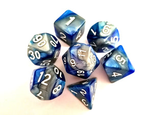 Blue/Steel Dual Colour Dice Set - Bescon
