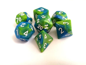 Green/Blue Dual Colour Dice Set - Bescon