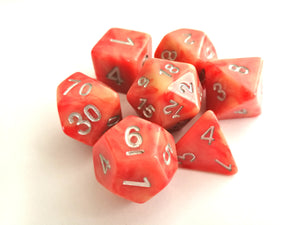 Peach-Red/Yellow Dual Colour Dice Set