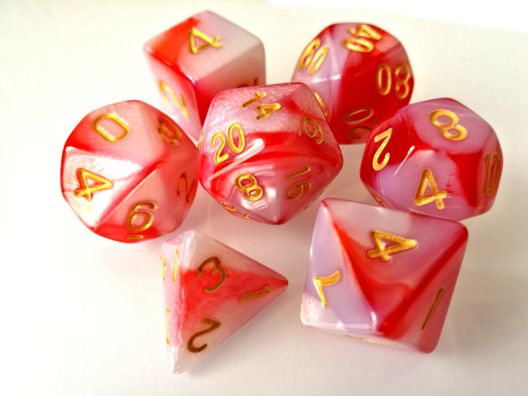 Red/White Dual Colour Dice Set