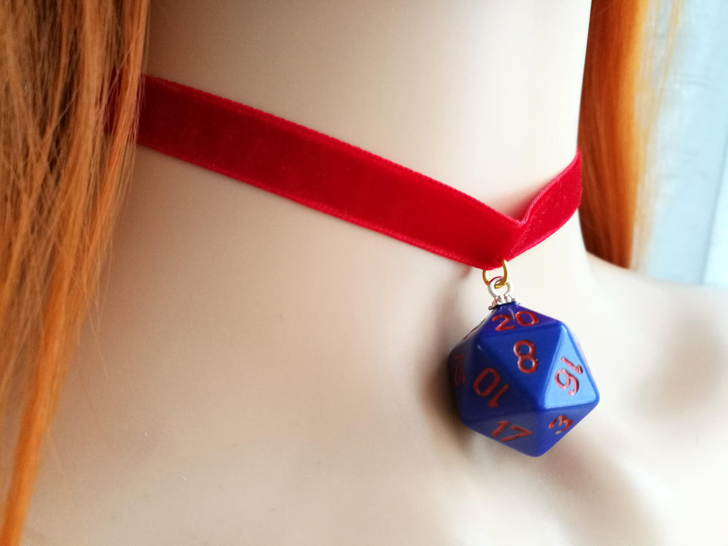 Purple D20 on Red Choker
