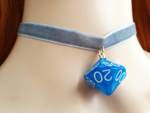 Blue Shimmery D10 on Grey Choker