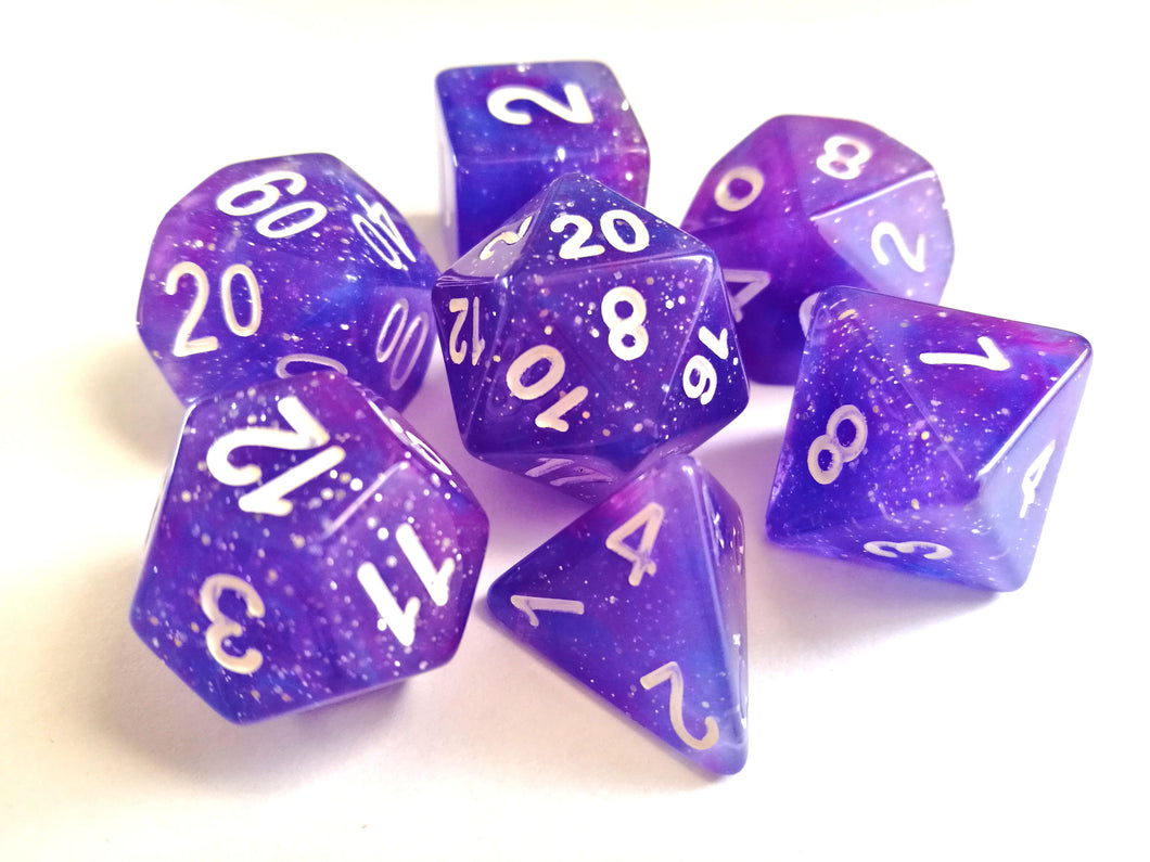 Purple Galaxy Dice Set