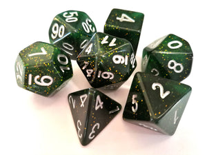 Forest Green Galaxy Dice Set