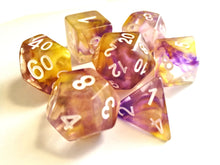 Yellow/Purple Colour Drop Dice Set