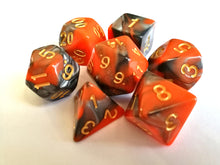 Orange/Steel Dual Colour Dice Set