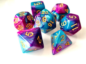 Teal/Fuchsia Dual Colour Dice Set