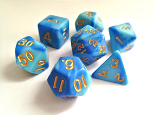 Sky Blue Marbled Dice Set - HD Dice