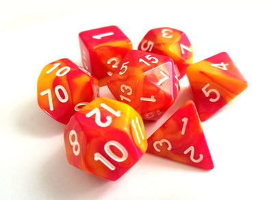 Hot Pink/Orange Dual Colour Dice Set - Bescon