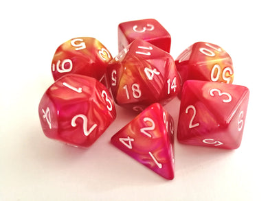 Golden Yellow/Hot Pink Dual Colour Dice Set