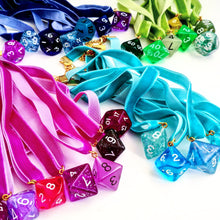 Polyhedral Dice on Sapphire Blue Choker