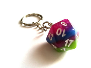 Tropical Layered D20 Keyring