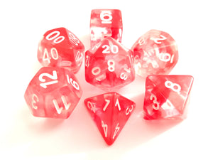 Red Mist with White Ink Translucent Swirl Dice Set