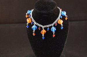 Blue and Orange Dice Charm Bracelet
