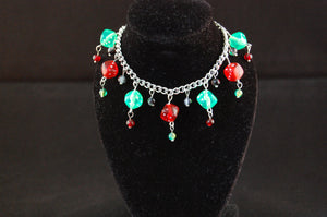 Green & Red Dice Charm Bracelet