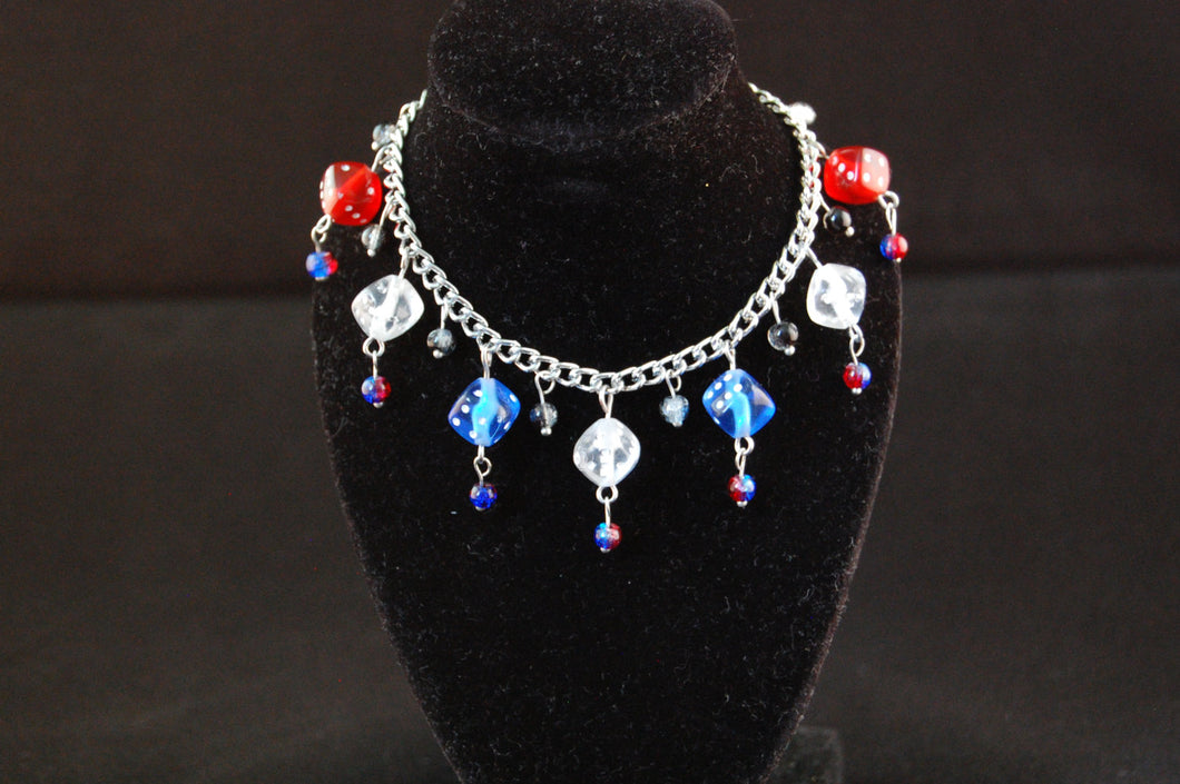 Red, White and Blue Dice Charm Bracelet