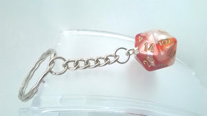Gemini Red/White D20 Keyring