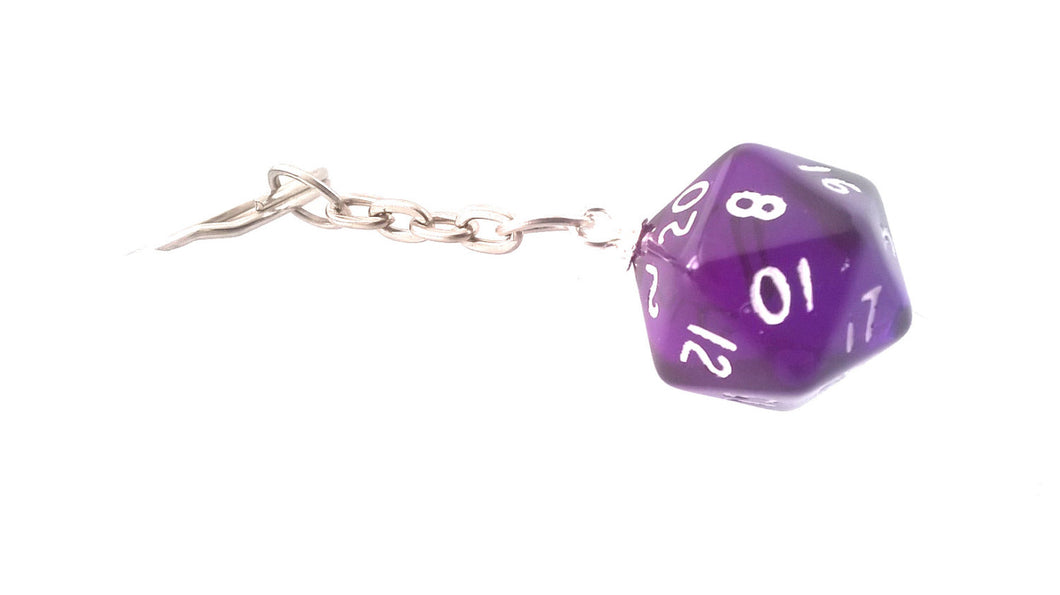 Dark Purple Gem D20 Keyring