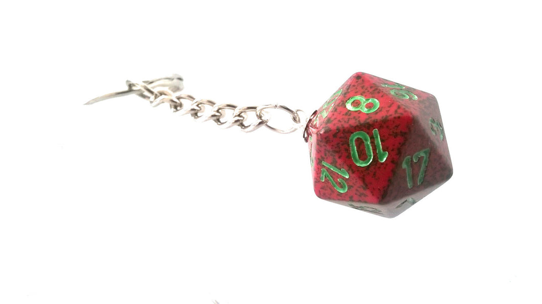 Strawberry Speckled D20 Keyring