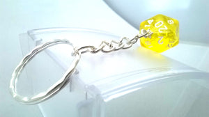 Yellow Gem D20 Silver Keyring