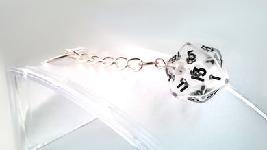 Clear Transparent Gem D20 Keyring