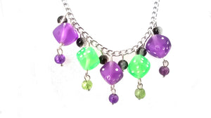 Purple and Green Dice Necklace