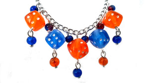 Blue and Orange Dice Necklace