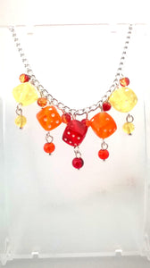 Red, Orange & Yellow Dice Necklace