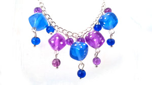Blue & Purple Dice Necklace