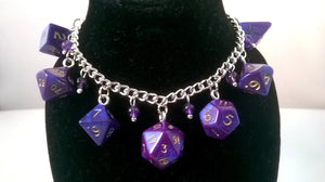 Purple Interferenz Mini Polyhedral Dice Charm Bracelet